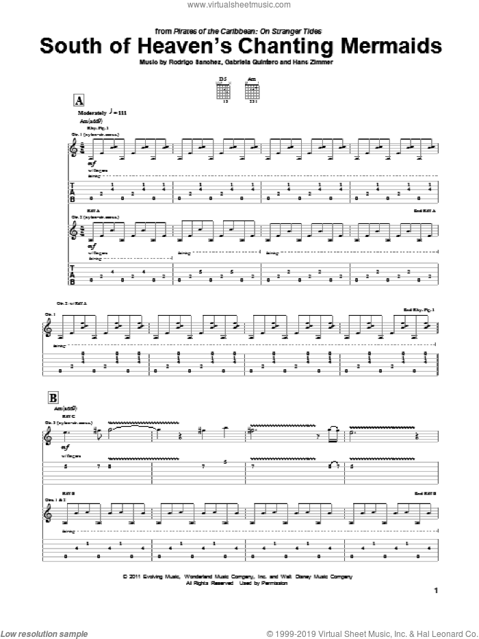 South Of Heaven's Chanting Mermaids sheet music for guitar (tablature) by Rodrigo y Gabriela and Hans Zimmer. Score Image Preview.