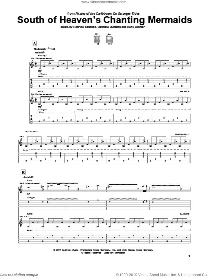 South Of Heaven's Chanting Mermaids sheet music for guitar (tablature) by Rodrigo y Gabriela, Pirates Of The Caribbean: On Stranger Tides (Movie), Gabriela Quintero, Hans Zimmer and Rodrigo Sanchez, intermediate skill level