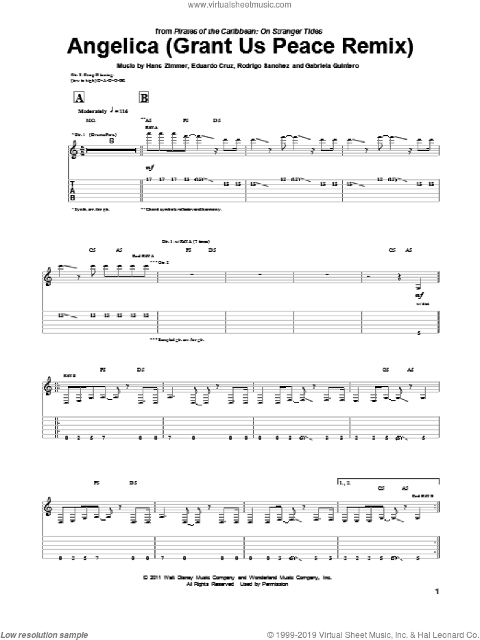 Angelica (Grant Us Peace Remix) sheet music for guitar (tablature) by Rodrigo y Gabriela, Pirates Of The Caribbean: On Stranger Tides (Movie), Eduardo Cruz, Gabriela Quintero, Hans Zimmer and Rodrigo Sanchez, intermediate skill level