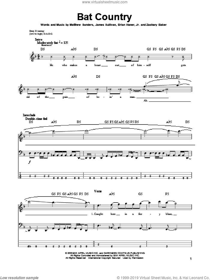 Bat Country sheet music for bass (tablature) (bass guitar) by Avenged Sevenfold, intermediate. Score Image Preview.