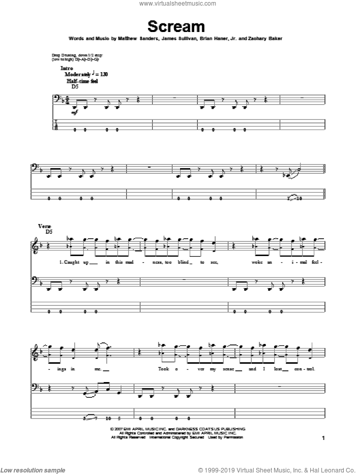 Scream sheet music for bass (tablature) (bass guitar) by Zachary Baker and Avenged Sevenfold. Score Image Preview.