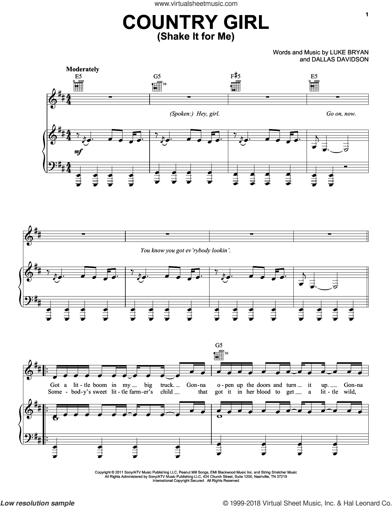 Country Girl (Shake It For Me) sheet music for voice, piano or guitar by Luke Bryan and Dallas Davidson, intermediate skill level