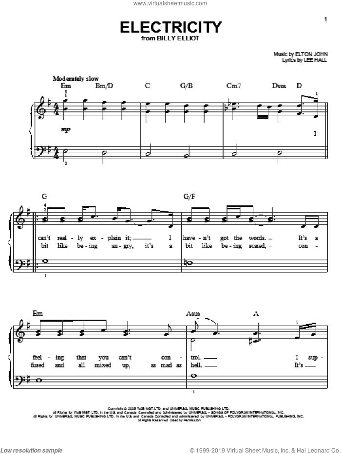 Electricity sheet music for piano solo by Elton John, Billy Elliot (Musical) and Lee Hall, easy skill level