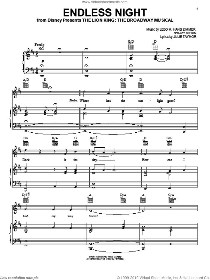 Endless Night (from The Lion King: Broadway Musical) sheet music for voice, piano or guitar by Elton John, The Lion King (Musical), Hans Zimmer, Jay Rifkin, Julie Taymor, Lebo M. and Lebo M., Hans Zimmer, Jay Rifkin and Julie Taymor, intermediate skill level
