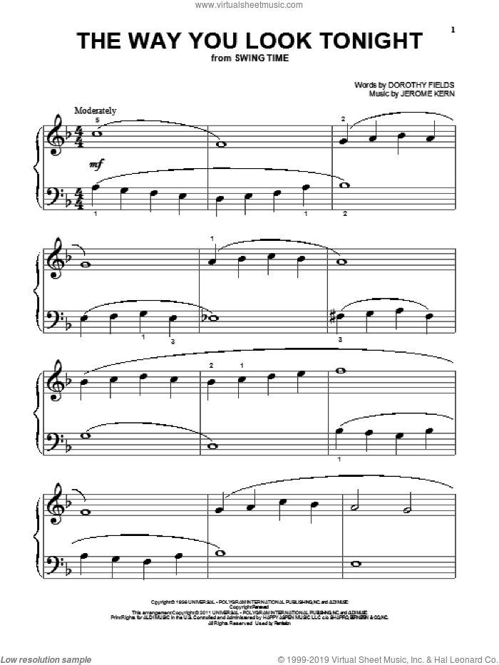 The Way You Look Tonight sheet music for piano solo (big note book) by Jerome Kern and Dorothy Fields, easy piano (big note book)
