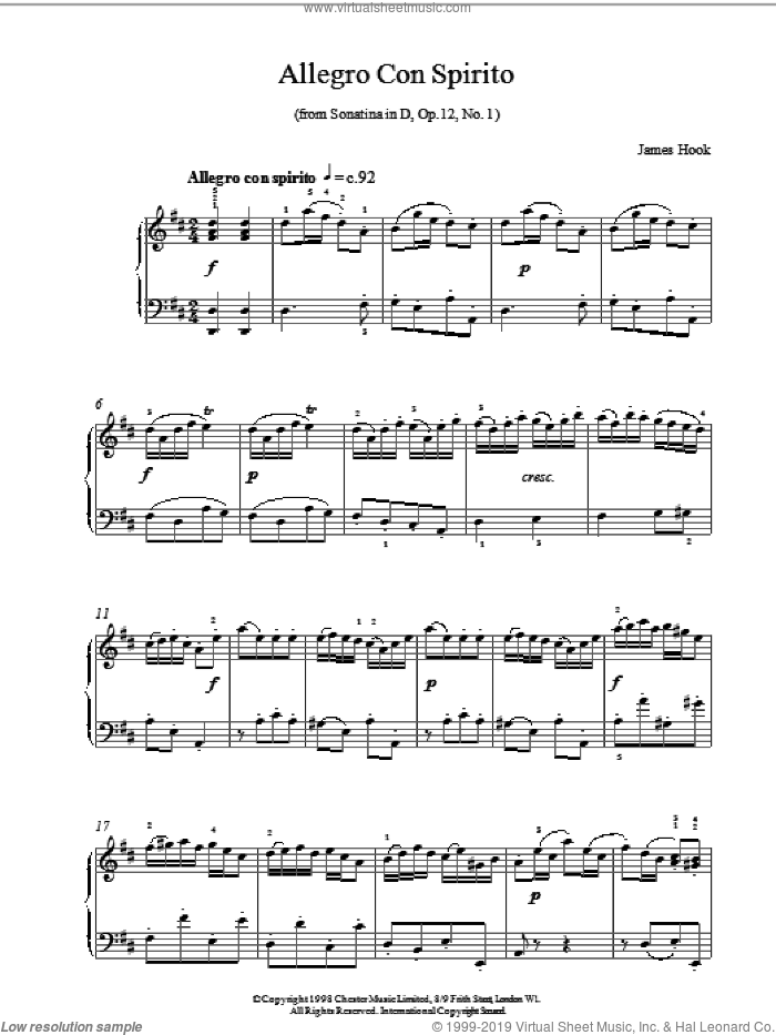 Allegro Con Spirito Op12 No1 sheet music for piano solo by James Hook, classical score, intermediate