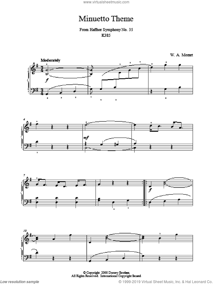 Minuetto Theme From Haffner Symphony No. 35 K385 sheet music for piano solo by Wolfgang Amadeus Mozart, classical score, intermediate. Score Image Preview.