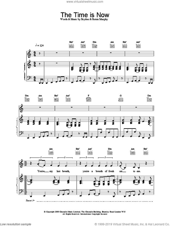The Time Is Now sheet music for voice, piano or guitar by Roisin Murphy