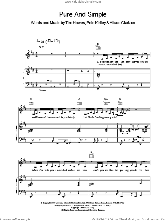 Pure And Simple sheet music for voice, piano or guitar by Kirtley,P & Clarkson,A.. Score Image Preview.