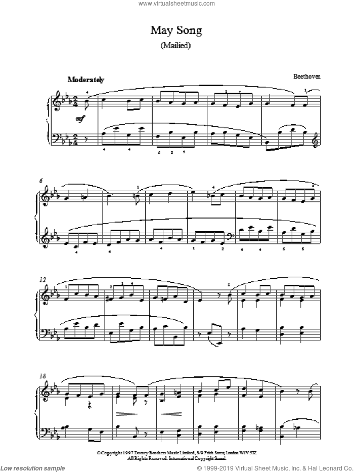 May Song 2 sheet music for piano solo by Ludwig van Beethoven. Score Image Preview.