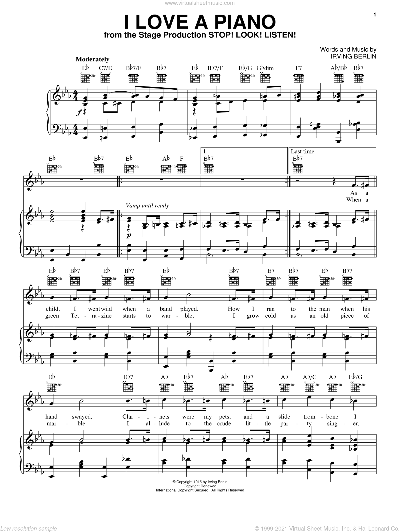 I Love A Piano sheet music for voice, piano or guitar by Irving Berlin and White Christmas (Musical), intermediate skill level