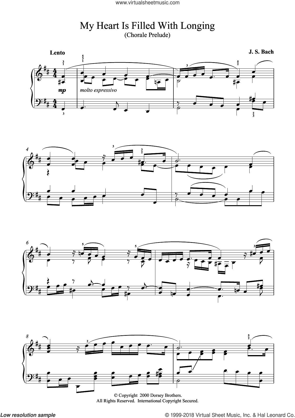 My Heart Is Filled With Longing sheet music for piano solo by Johann Sebastian Bach. Score Image Preview.