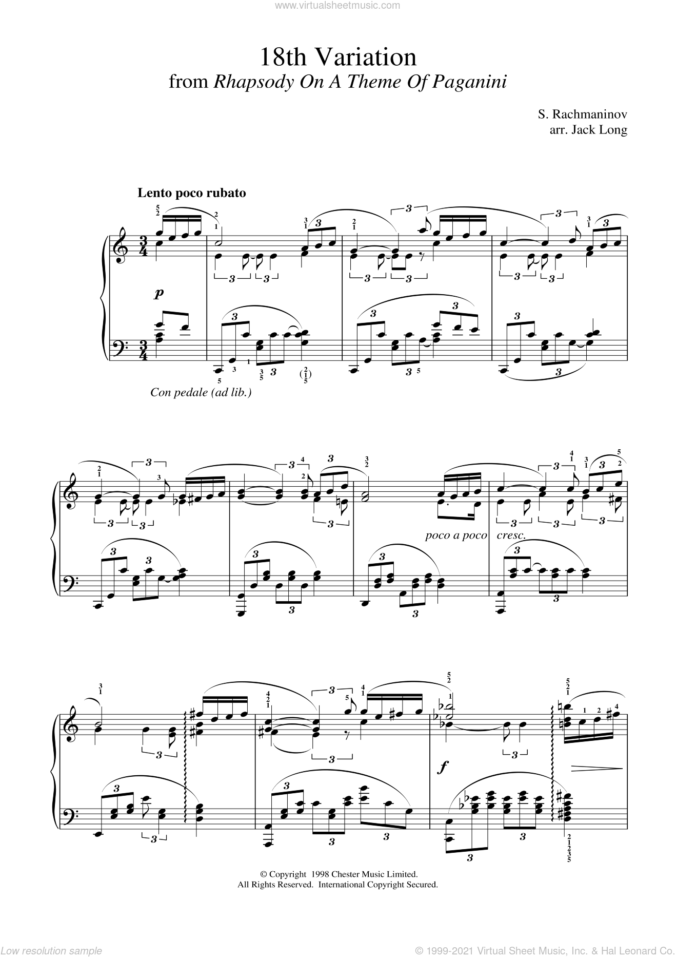 18th Variation sheet music for piano solo by Serjeij Rachmaninoff, classical score, intermediate skill level