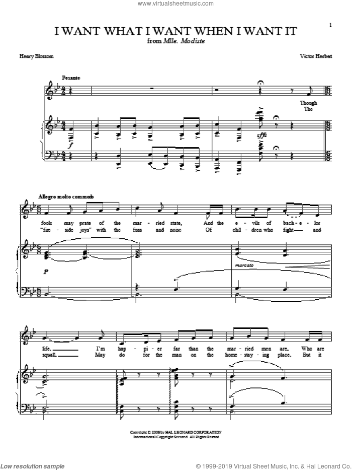 I Want What I Want When I Want It sheet music for voice and piano by Joan Frey Boytim, Henry Blossom and Victor Herbert, intermediate skill level