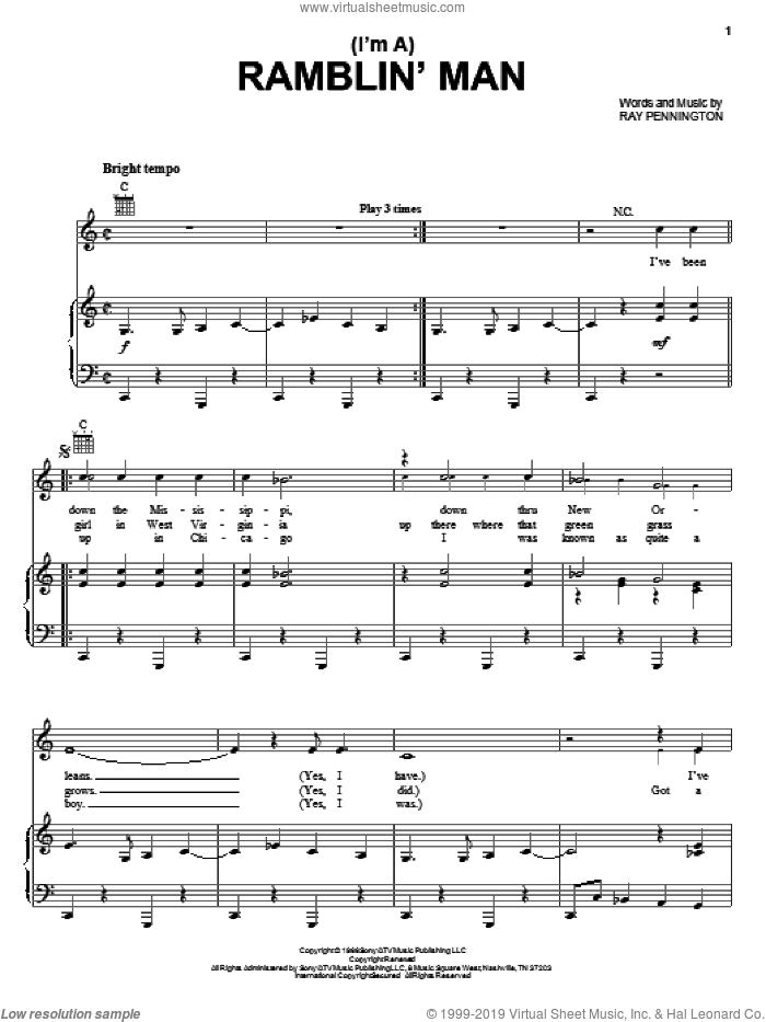 (I'm A) Ramblin' Man sheet music for voice, piano or guitar by Ray Pennington and Waylon Jennings. Score Image Preview.
