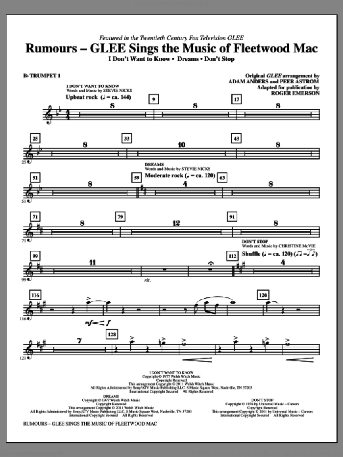 Rumours: Glee Sings The Music Of Fleetwood Mac (complete set of parts) sheet music for orchestra/band by Roger Emerson, Christine McVie, Fleetwood Mac, Glee Cast and Miscellaneous, intermediate skill level