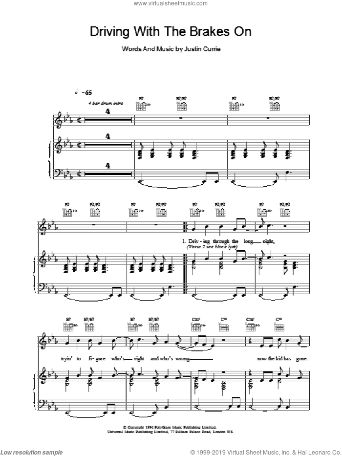 Driving With The Brakes On sheet music for voice, piano or guitar by Del Amitri and Justin Currie, intermediate skill level