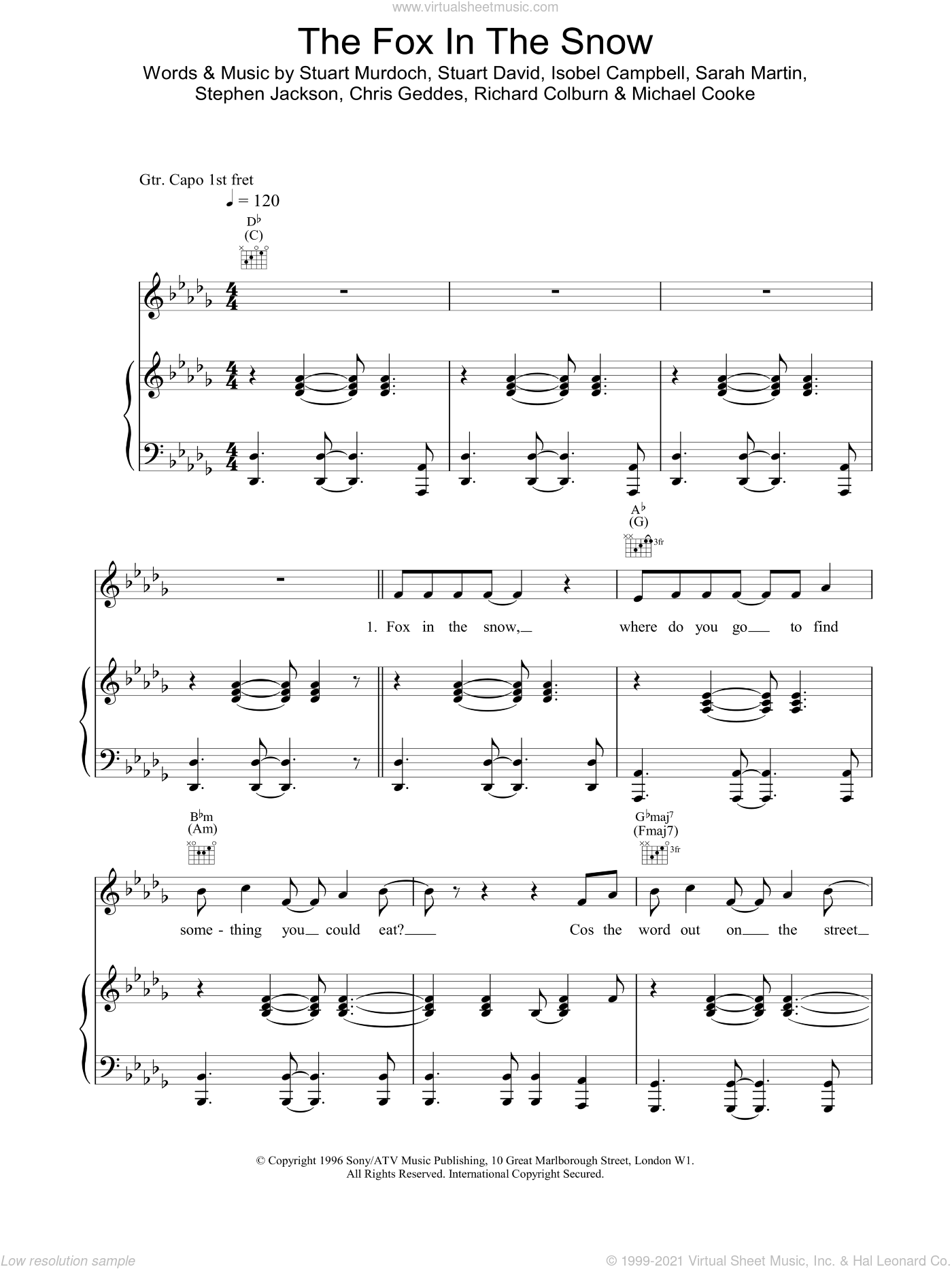 Fox In The Snow sheet music for voice, piano or guitar. Score Image Preview.