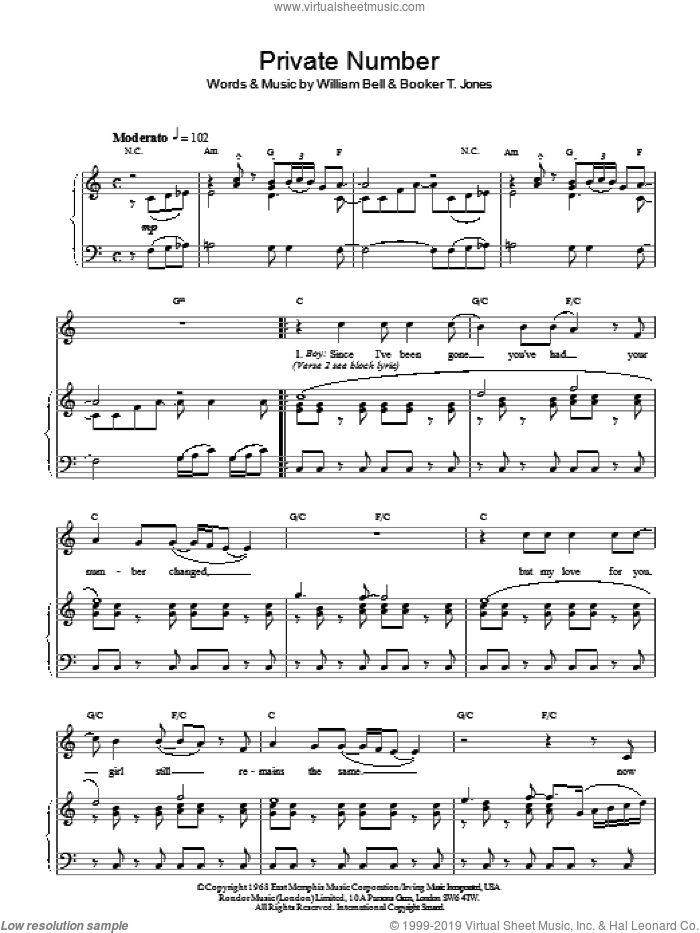 Private Number sheet music for voice, piano or guitar by Booker T. Jones