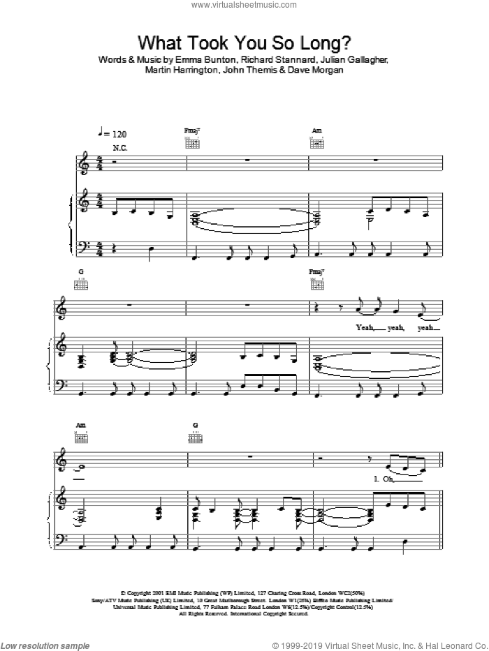 What Took You So Long? sheet music for voice, piano or guitar by Richard Stannard, Emma Bunton and Julian Gallagher. Score Image Preview.