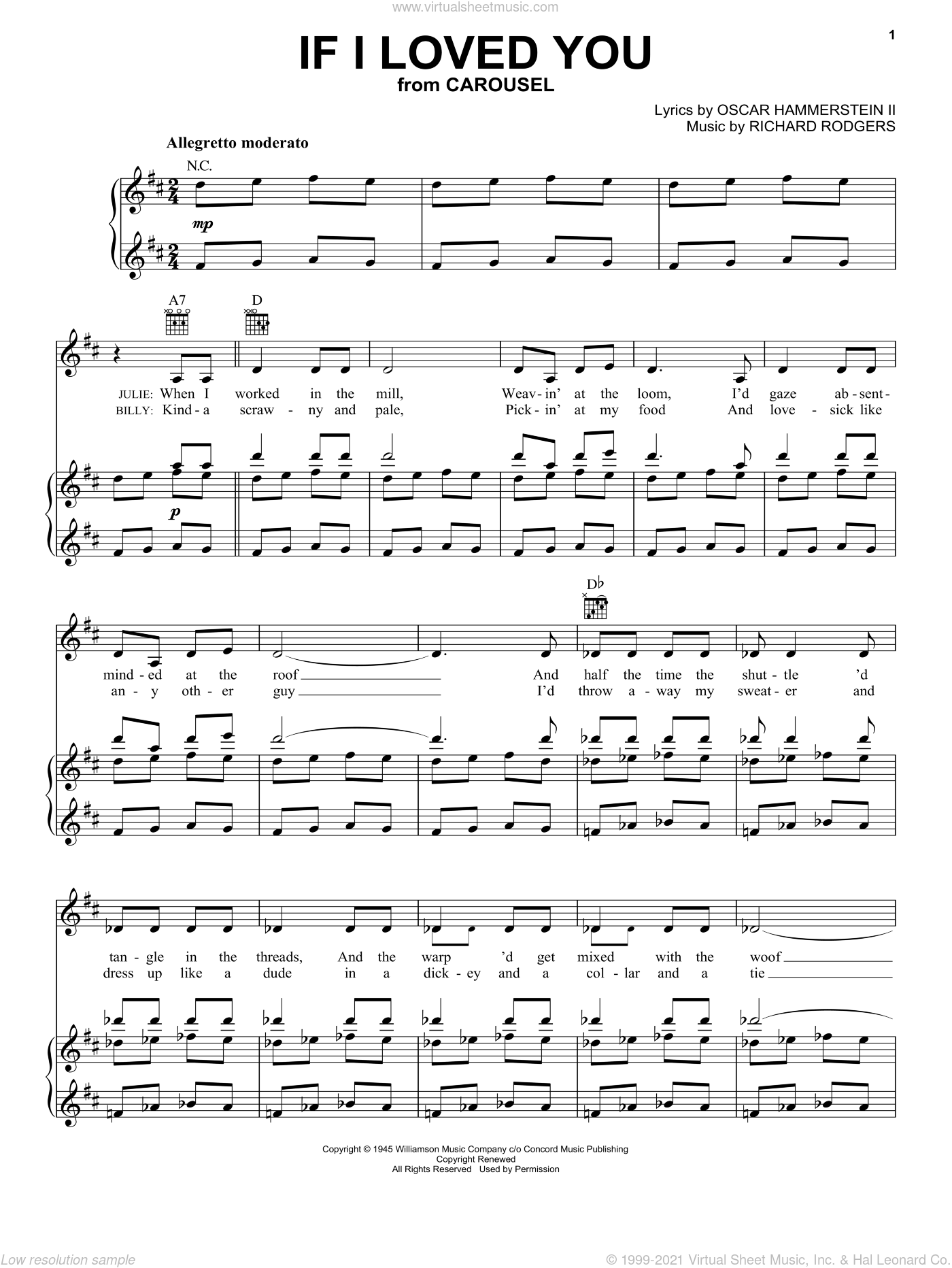 If I Loved You sheet music for voice, piano or guitar by Rodgers & Hammerstein, Carousel (Musical), Oscar II Hammerstein and Richard Rodgers, intermediate skill level