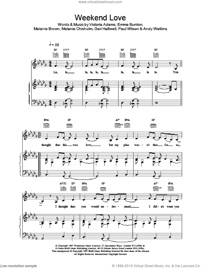 Weekend Love sheet music for voice, piano or guitar by Victoria Adams and The Spice Girls