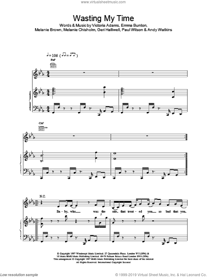 Wasting My Time sheet music for voice, piano or guitar by Victoria Adams