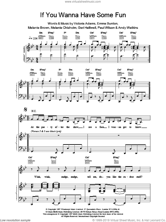 If You Wanna Have Some Fun sheet music for voice, piano or guitar by Victoria Adams and The Spice Girls. Score Image Preview.