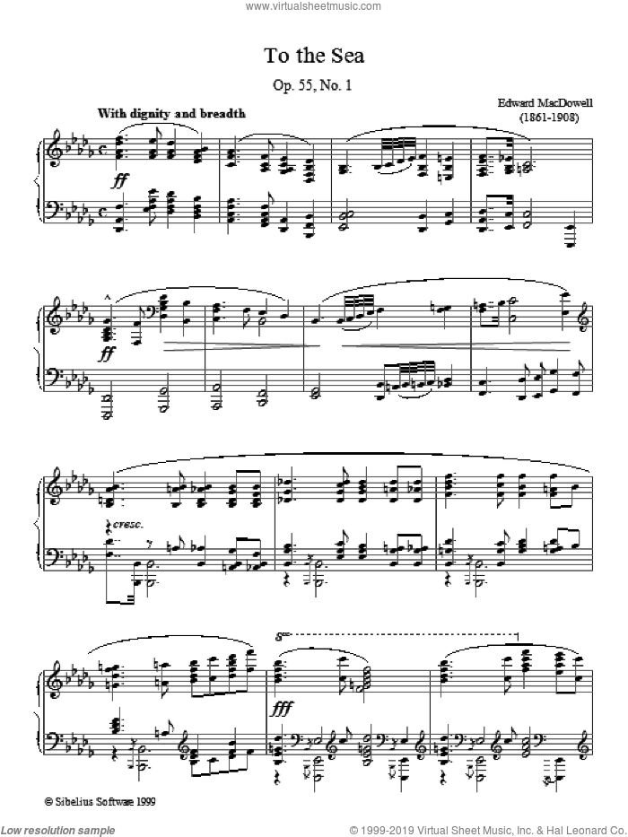 To The Sea sheet music for piano solo by Edward MacDowell, classical score, intermediate. Score Image Preview.