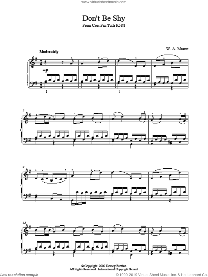 Don't Be Shy From Cosi Fan Tutti K588 sheet music for piano solo by Wolfgang Amadeus Mozart, classical score, intermediate piano. Score Image Preview.