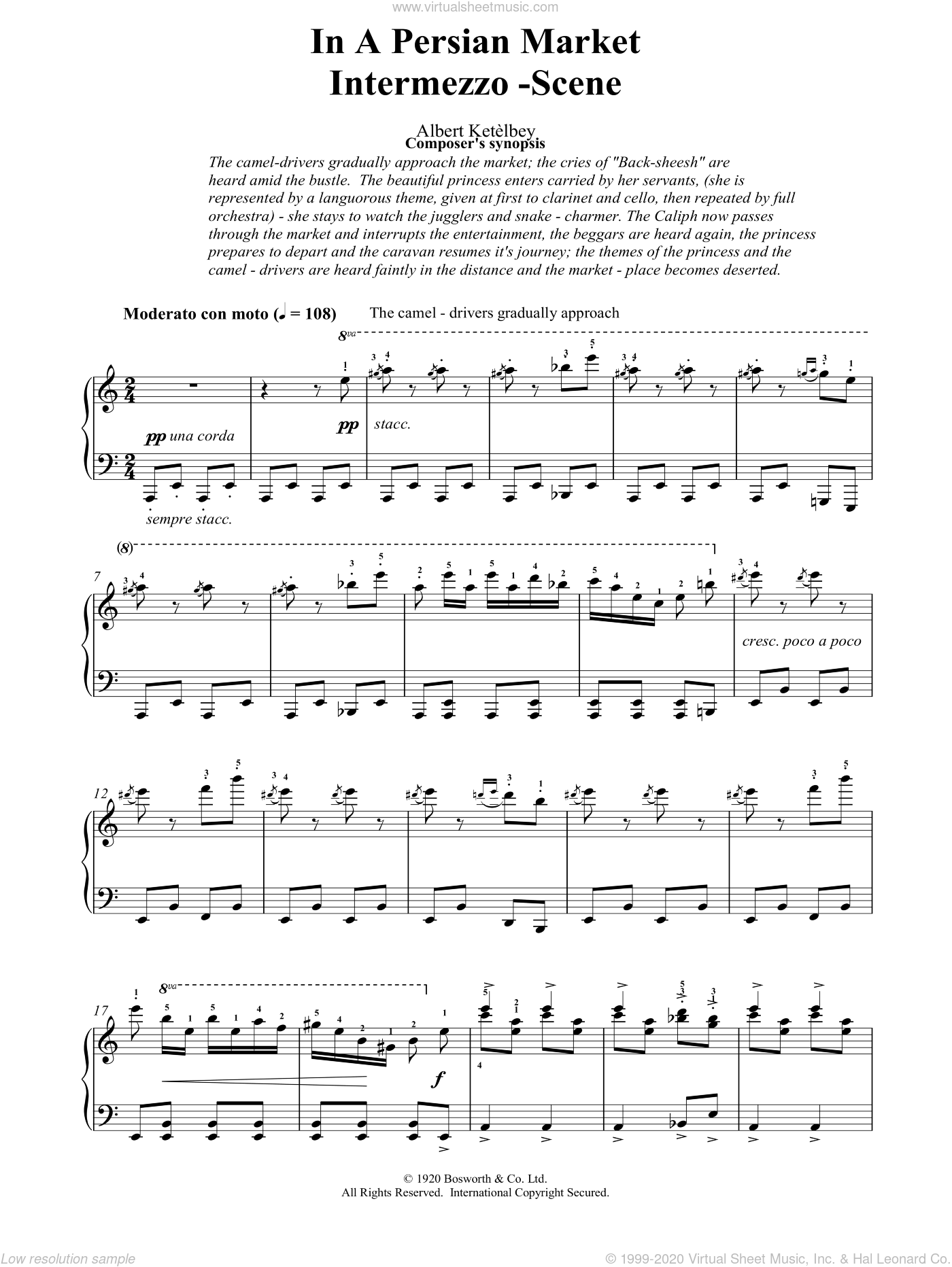 In A Persian Market sheet music for piano solo by Albert Ketelbey, intermediate piano. Score Image Preview.