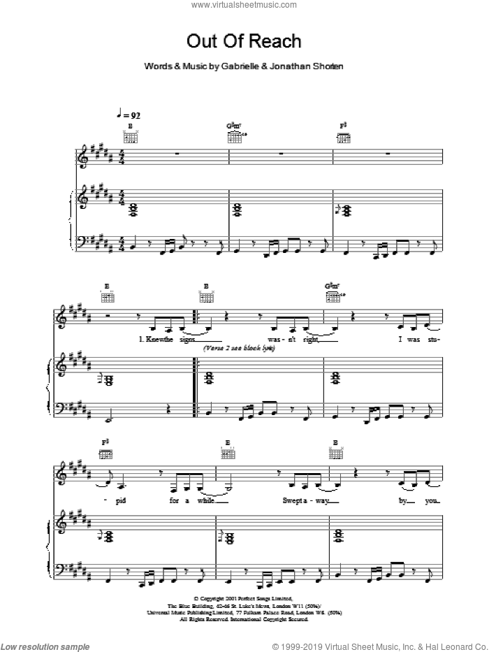 Out Of Reach sheet music for voice, piano or guitar by Gabrielle and Jonathan Shorten, intermediate skill level