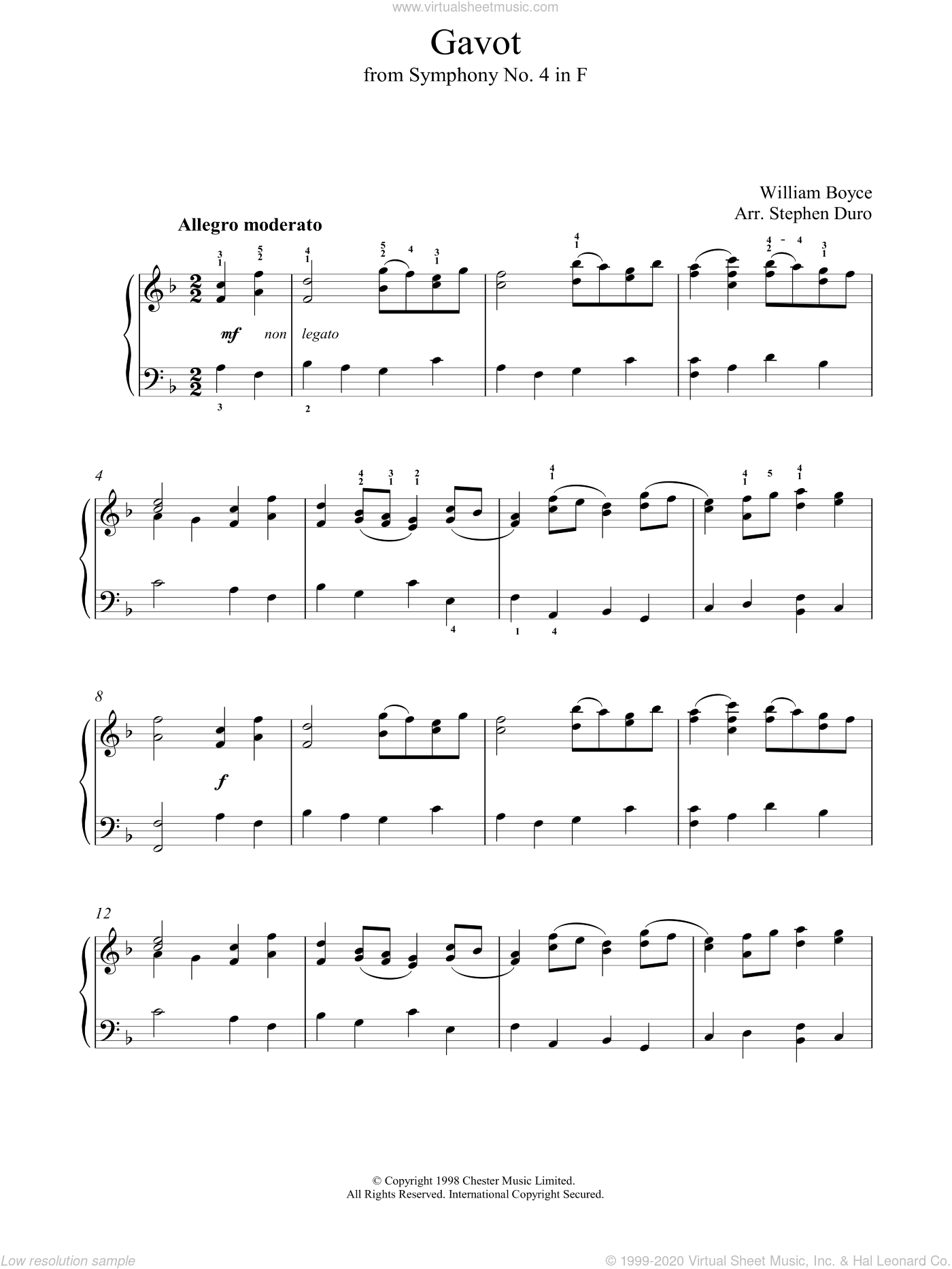 Gavot sheet music for voice, piano or guitar by William Boyce and Stephen Arr. Duro, classical score, intermediate skill level
