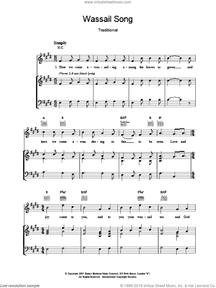 Wassail Song sheet music for voice, piano or guitar, intermediate. Score Image Preview.