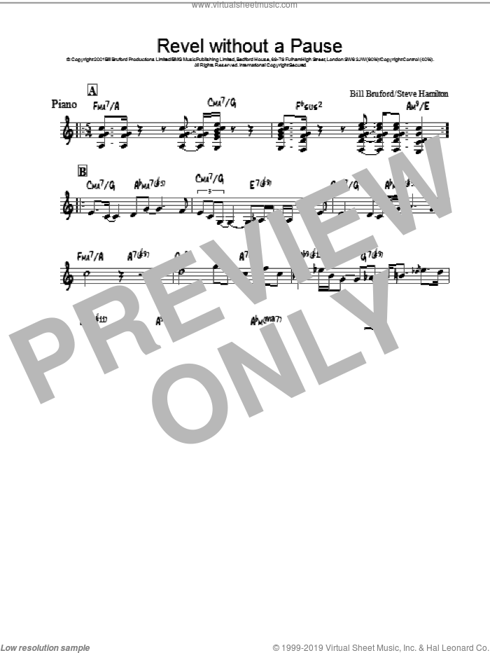 Revel Without A Pause sheet music for piano solo by Bill Bruford, intermediate. Score Image Preview.