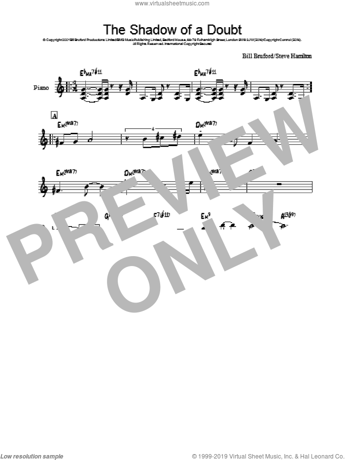 The Shadow Of A Doubt sheet music for piano solo by Steve Hamilton and Bill Bruford. Score Image Preview.