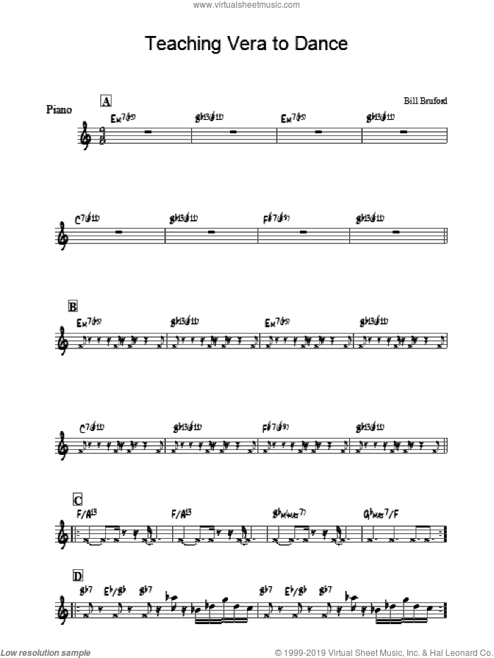 Teaching Vera To Dance sheet music for piano solo by Bill Bruford, intermediate. Score Image Preview.