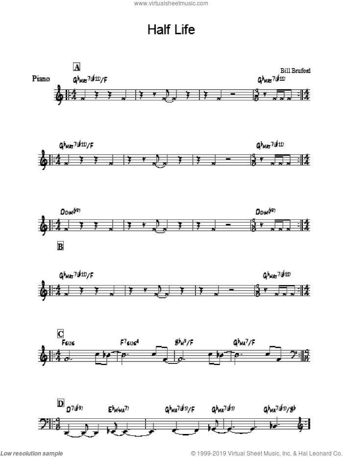 Half Life sheet music for piano solo by Bill Bruford