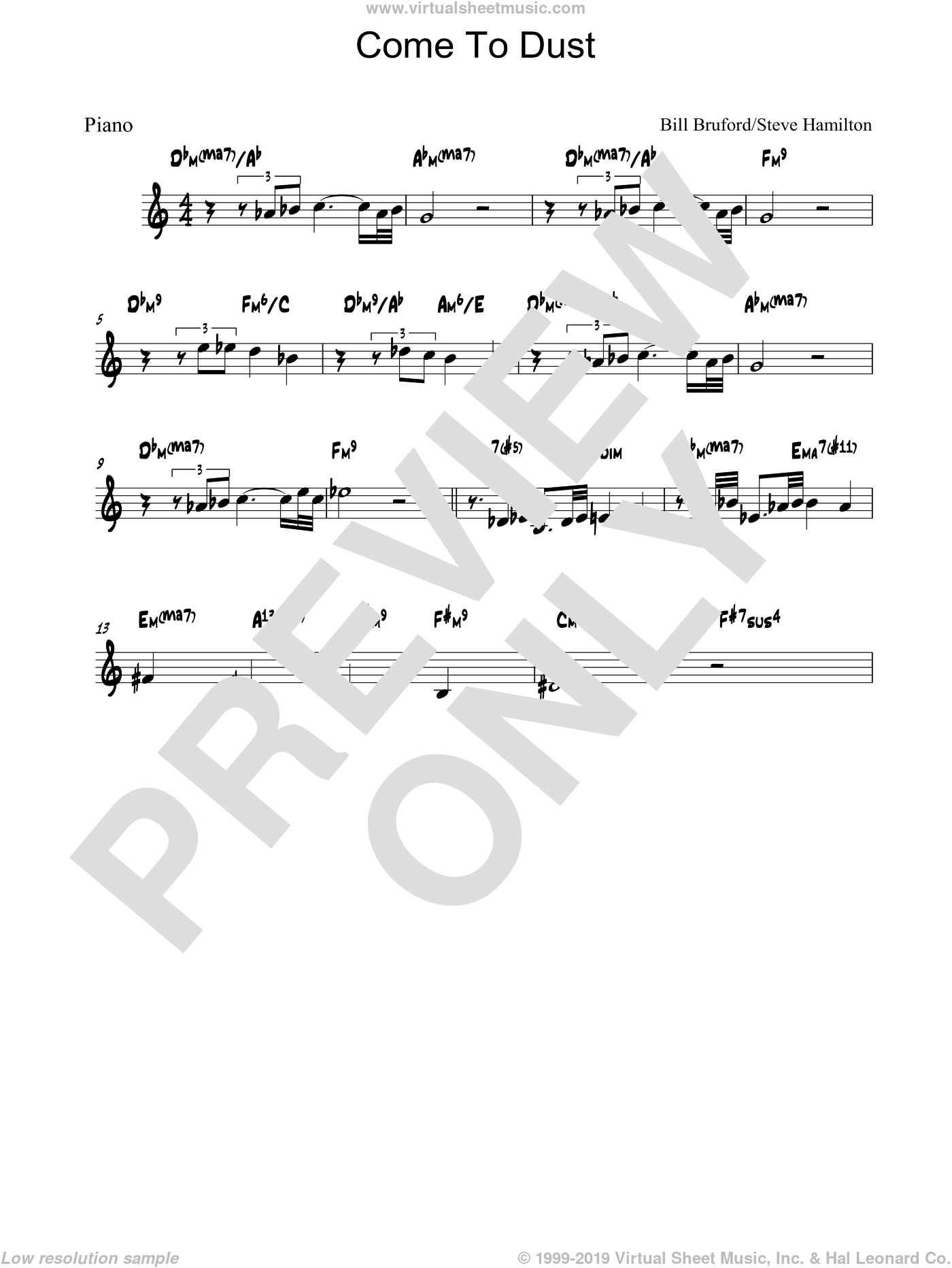 Come To Dust sheet music for piano solo by Steve Hamilton and Bill Bruford. Score Image Preview.