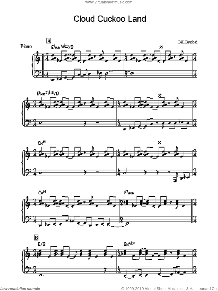 Cloud Cuckoo Land sheet music for piano solo by Bill Bruford. Score Image Preview.