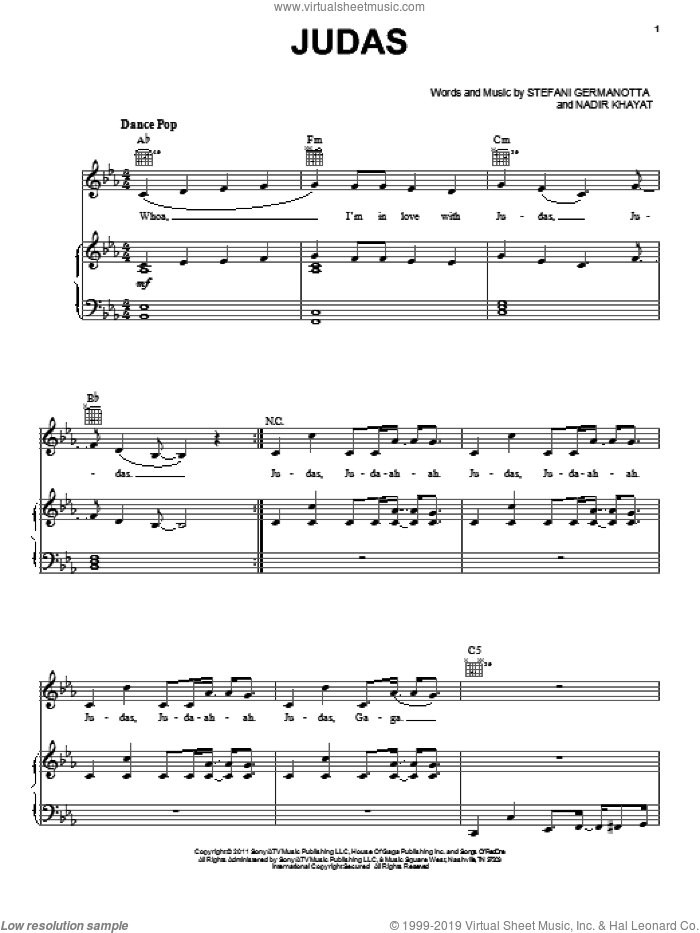 Judas sheet music for voice, piano or guitar by Lady GaGa and Nadir Khayat, intermediate skill level