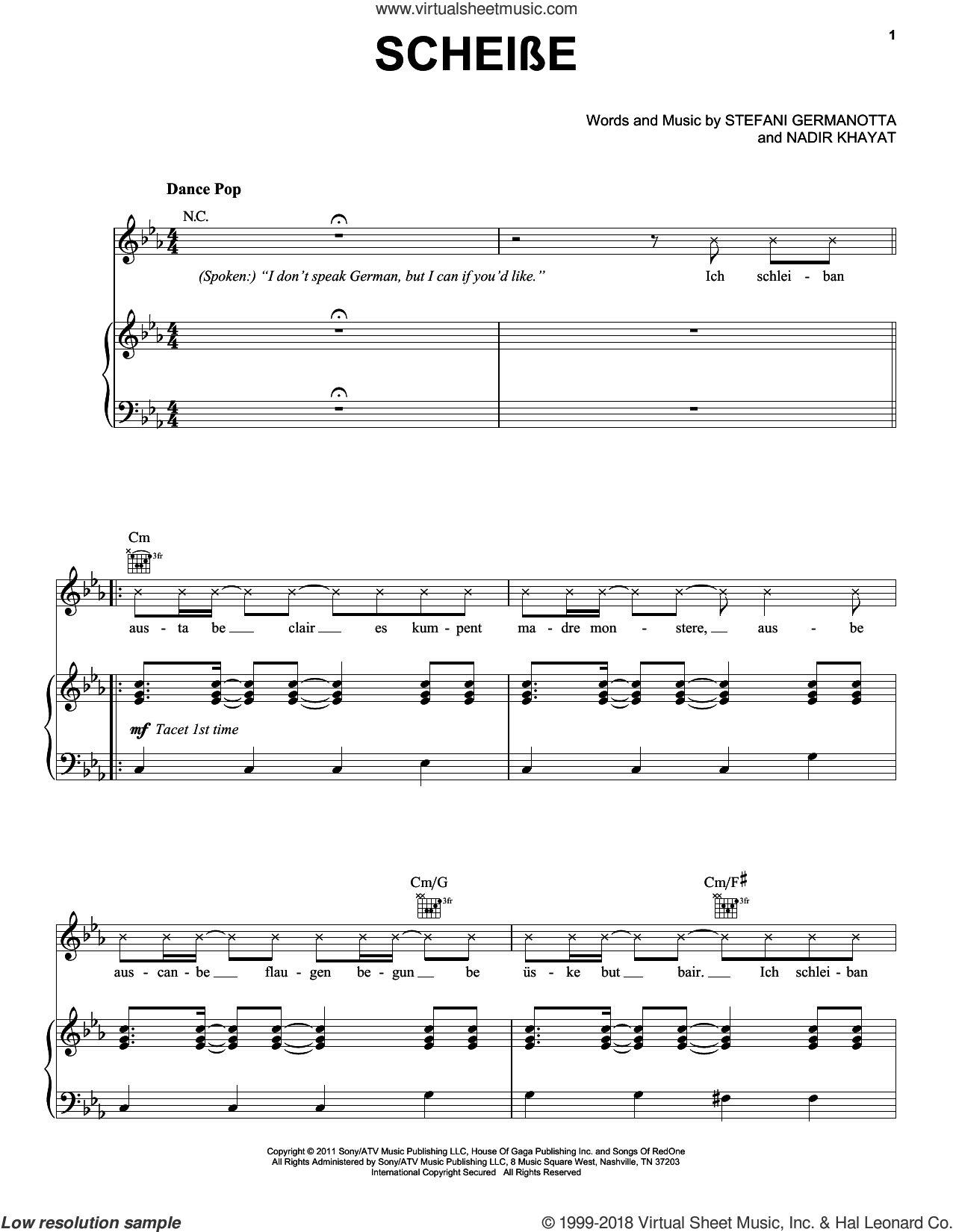 Scheibe sheet music for voice, piano or guitar by Lady GaGa and Nadir Khayat, intermediate skill level