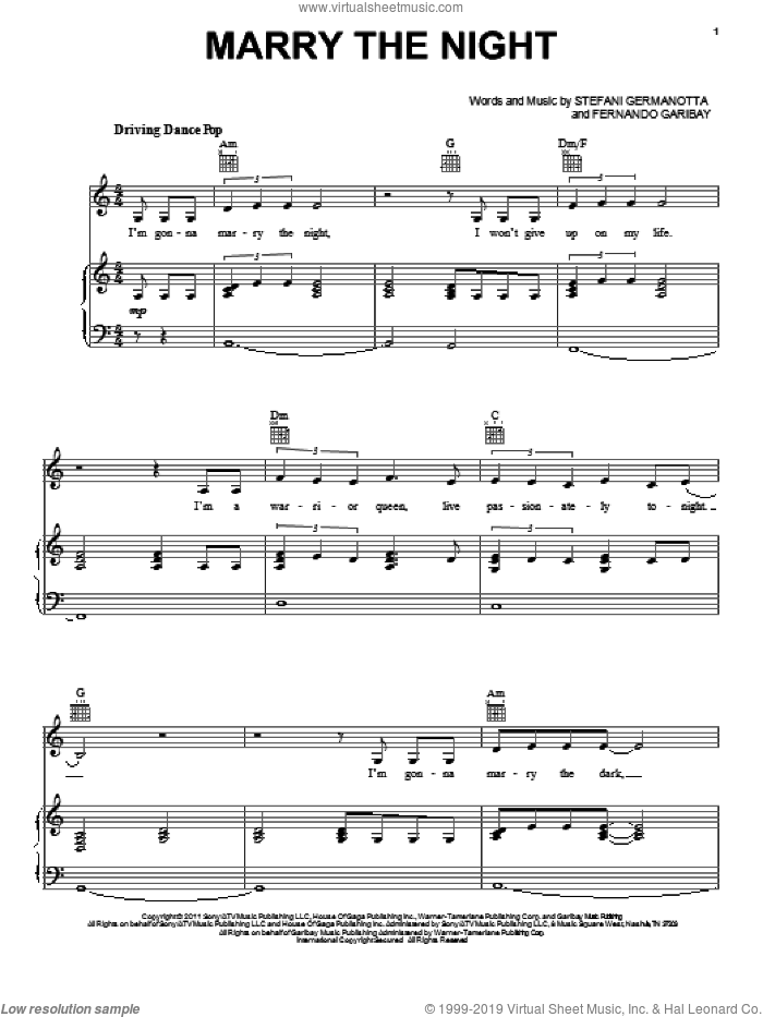 Marry The Night sheet music for voice, piano or guitar by Lady Gaga and Fernando Garibay. Score Image Preview.