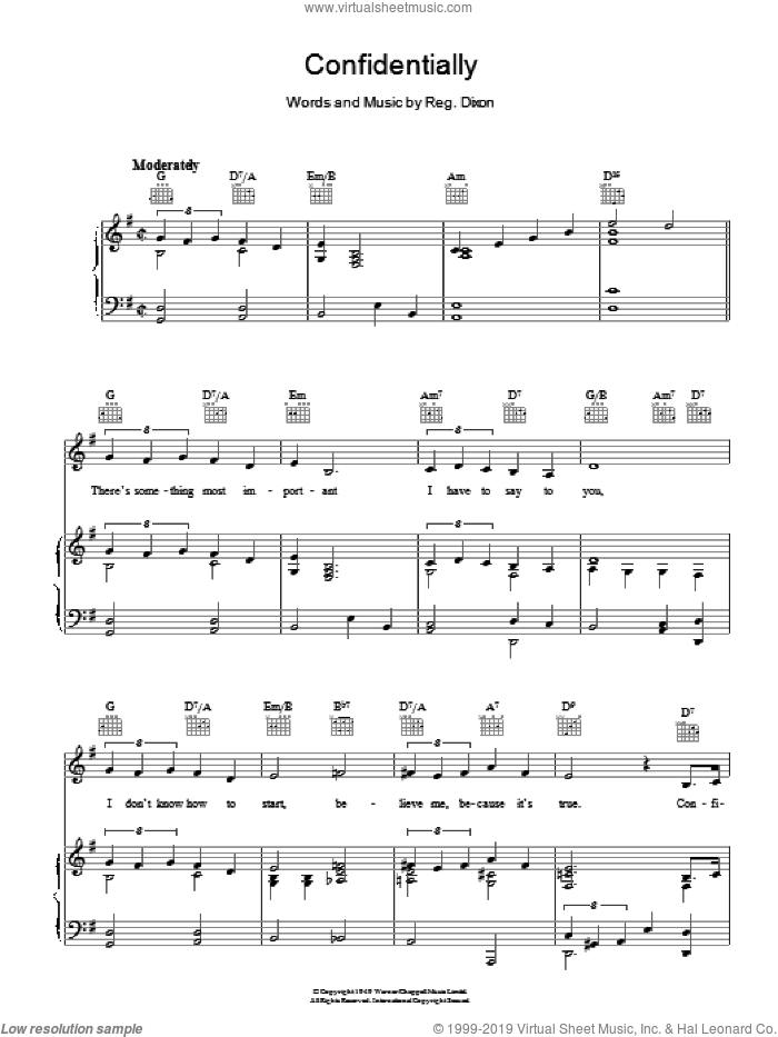 Confidentially sheet music for voice, piano or guitar by Reginald Dixon. Score Image Preview.
