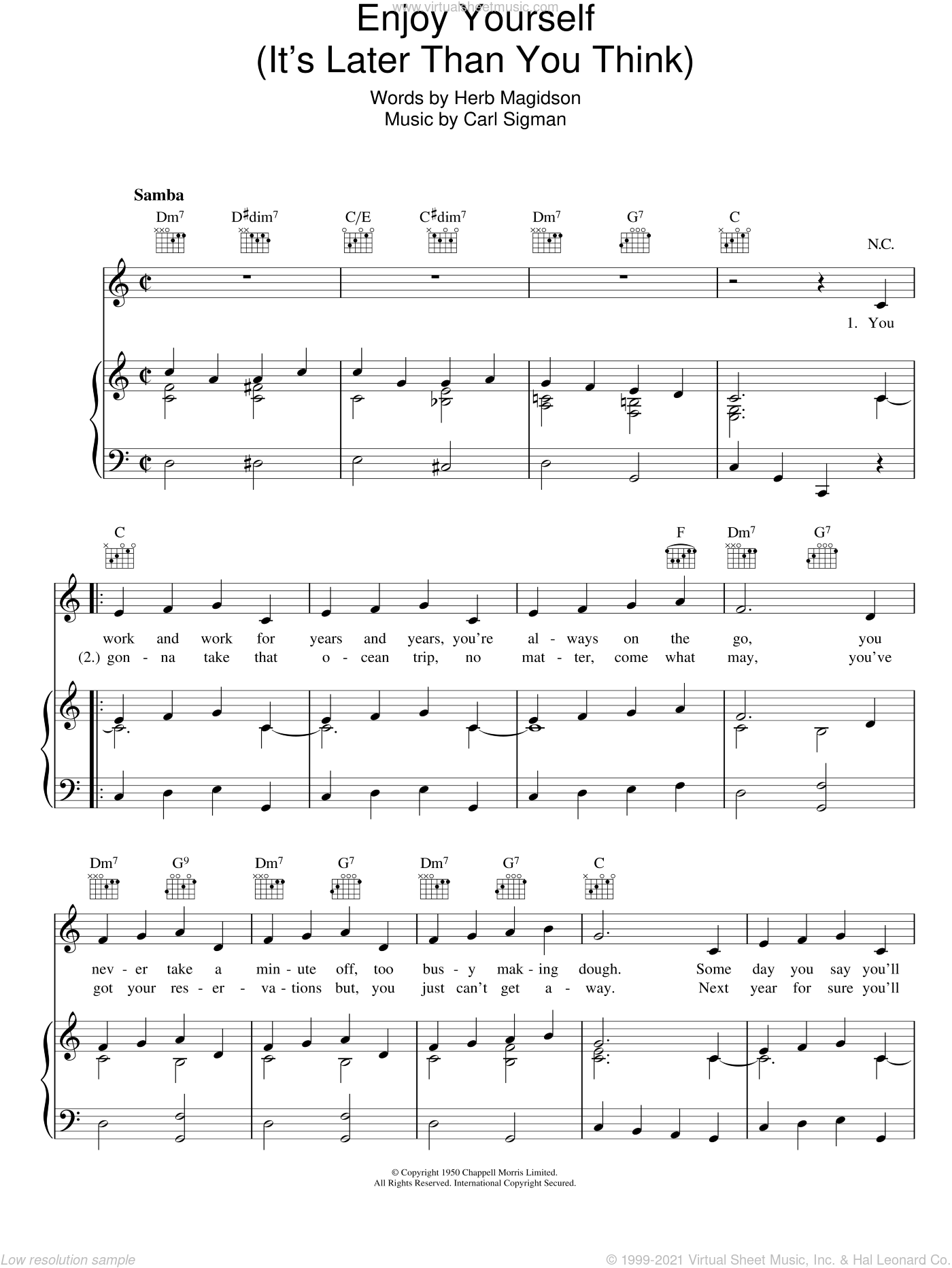 Enjoy Yourself (It's Later Than You Think) sheet music for voice, piano or guitar by Herb Magidson