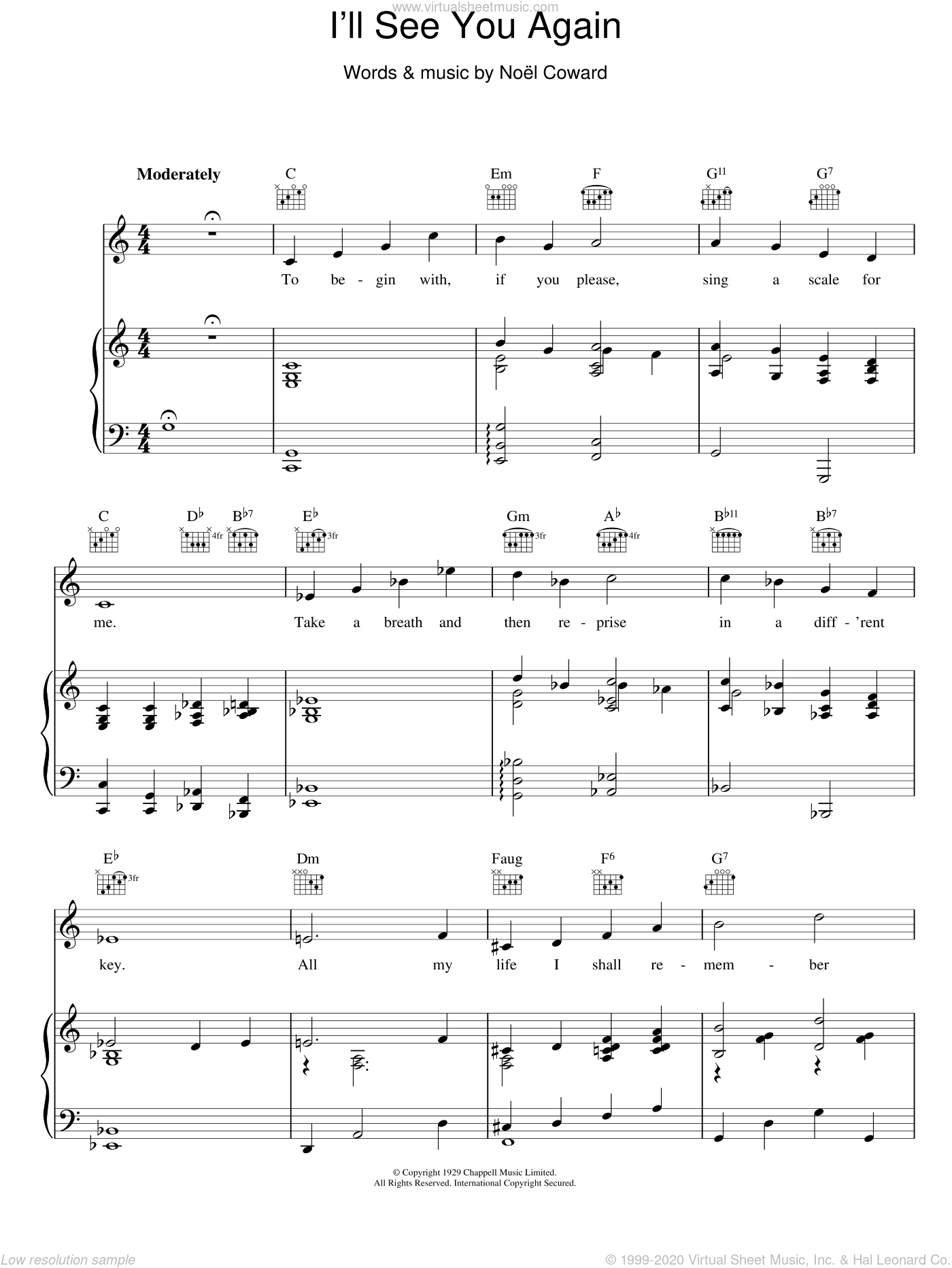 I'll See You Again sheet music for voice, piano or guitar by Noel Coward, intermediate skill level