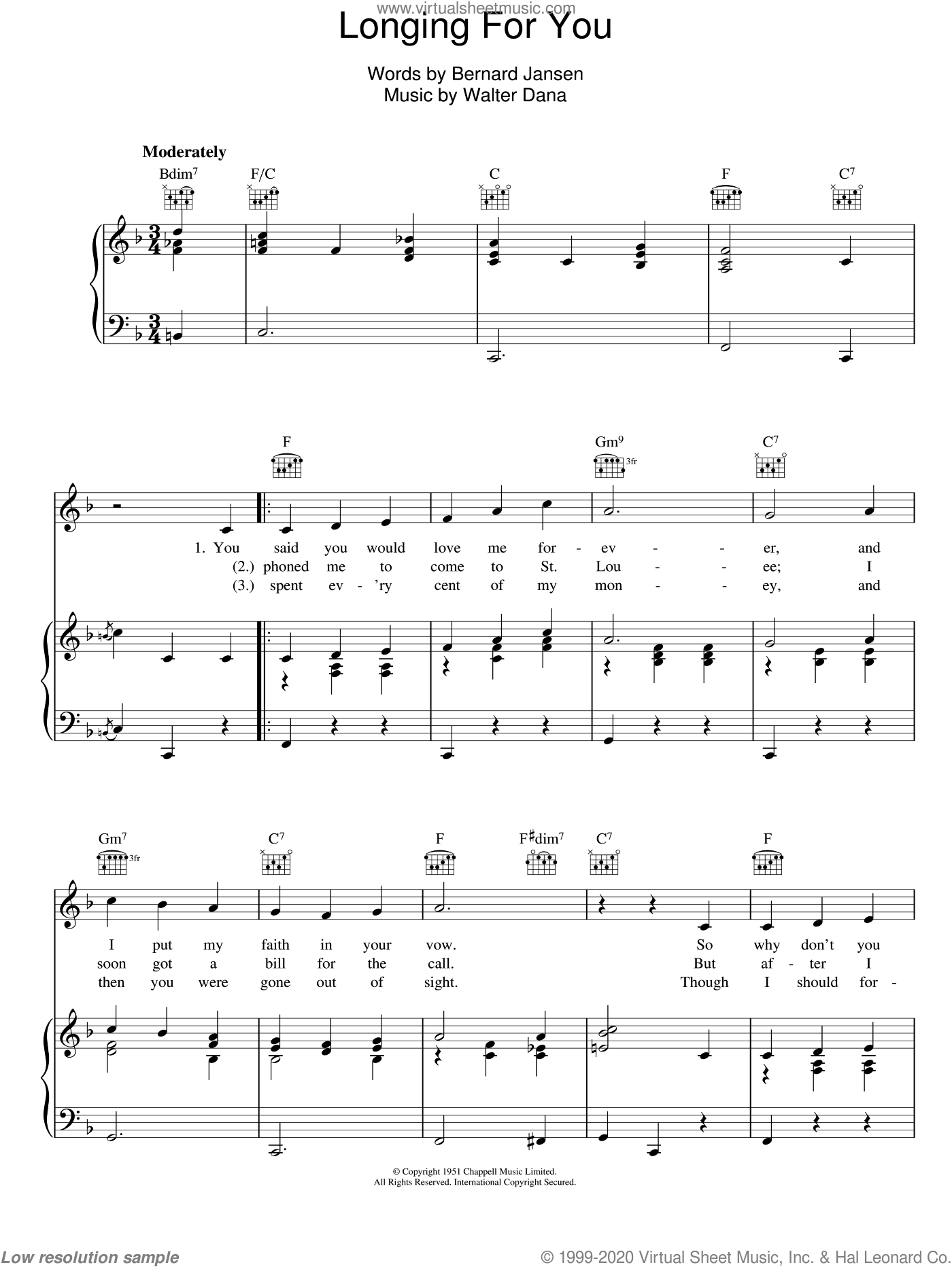 Longing For You sheet music for voice, piano or guitar by Walter Dana