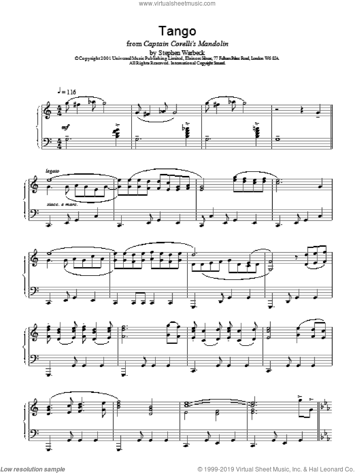 The Tango sheet music for piano solo by Stephen Warbeck, intermediate piano. Score Image Preview.