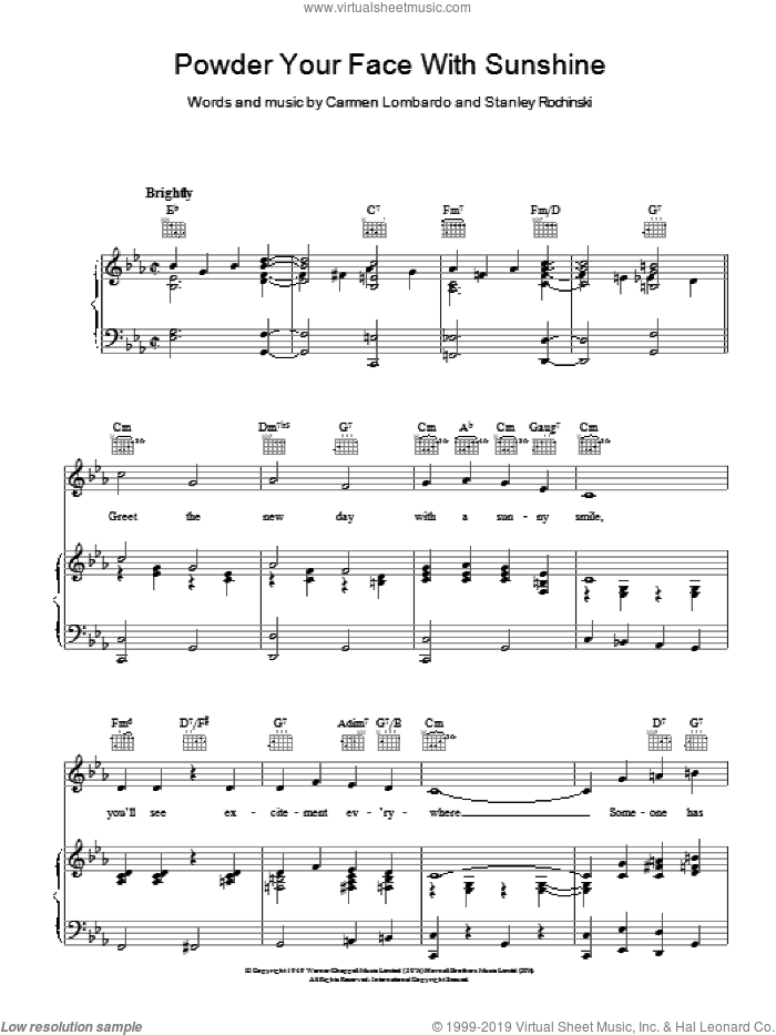 Martin - Powder Your Face With Sunshine sheet music for voice, piano or  guitar