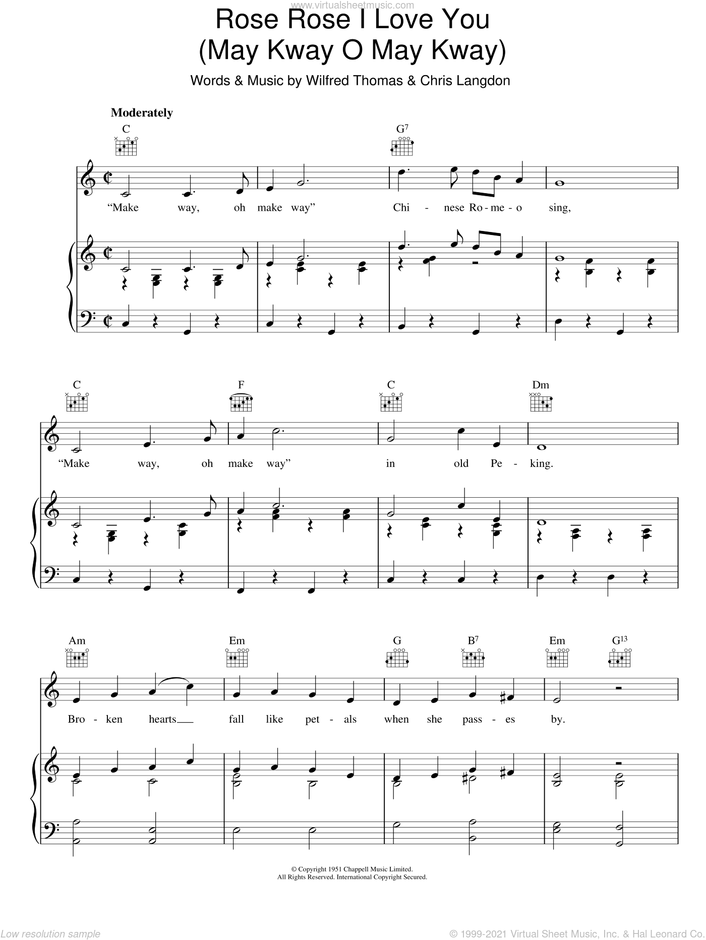 Rose Rose I Love You (May Kway O May Kway) sheet music for voice, piano or guitar by Wilfred Thomas